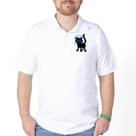 Black Halloween Kitten Golf Shirt