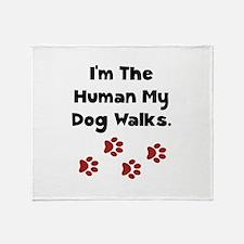 Human Dog Walks Throw Blanket