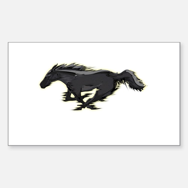 Mustang Running Horse Sticker (Rectangle)
