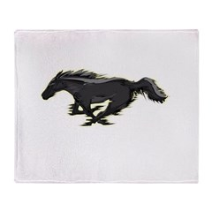 Mustang Running Horse Throw Blanket