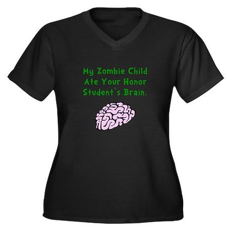 Zombie Child Women's Plus Size V-Neck Dark T-Shirt