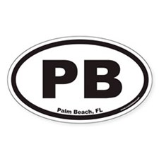 Palm Beach Florida PB Euro Oval Stickers