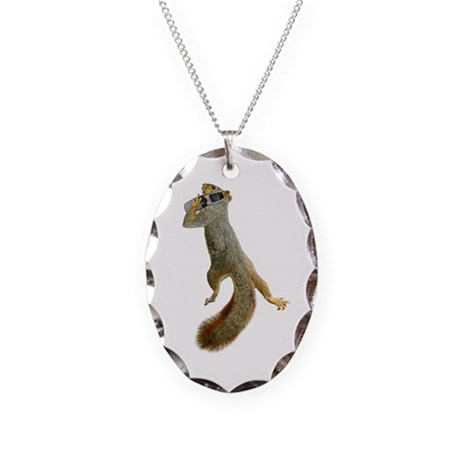 Squirrel Cell Phone Necklace Oval Charm