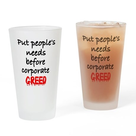CorpGreed Drinking Glass