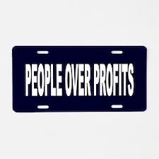 People Over Profits: Aluminum License Plate