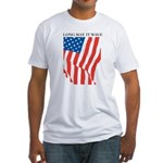 American Flag Long May it Wav Fitted T-Shirt