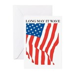 American Flag Long May it Wav Greeting Cards (Pack