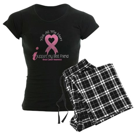 With All My Heart Breast Cancer Women's Dark Pajam