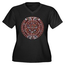 Mayan Calender Women's Plus Size V-Neck Dark T-Shi
