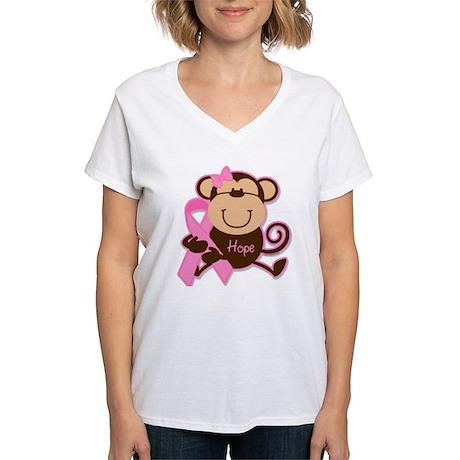 Monkey Cancer Hope Women's V-Neck T-Shirt