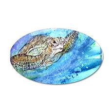 Sea Turtle, wildlife, art, 22x14 Oval Wall Peel