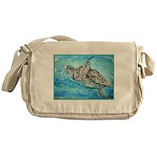 Sea Turtle, wildlife, art, Messenger Bag