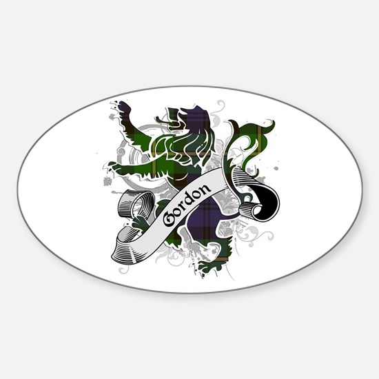 Gordon Tartan Lion Sticker (Oval)