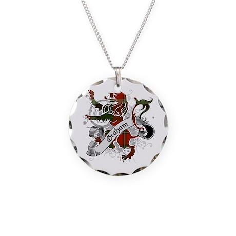 Graham Tartan Lion Necklace Circle Charm