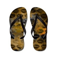 Black Lips Gold Flip Flops