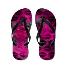 Black Lips Hot Pink Flip Flops
