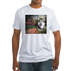 """""""Why God Made Dogs"""" Malamute Fitted T-Shirt"""