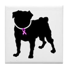 Pug Breast Cancer Support Tile Coaster