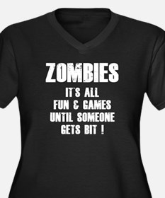 Zombies Fun and Games Women's Plus Size V-Neck Dar