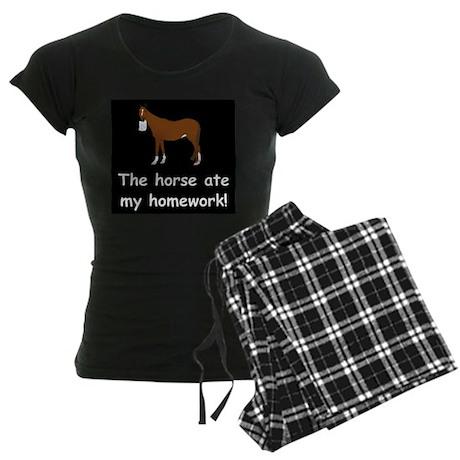 The Horse ate my homework Women's Dark Pajamas