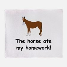 The Horse ate my homework Throw Blanket
