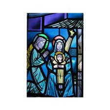Stained Glass Nativity Rectangle Magnet