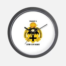 DUI - Troop E, 5th Cavalry with Text Wall Clock