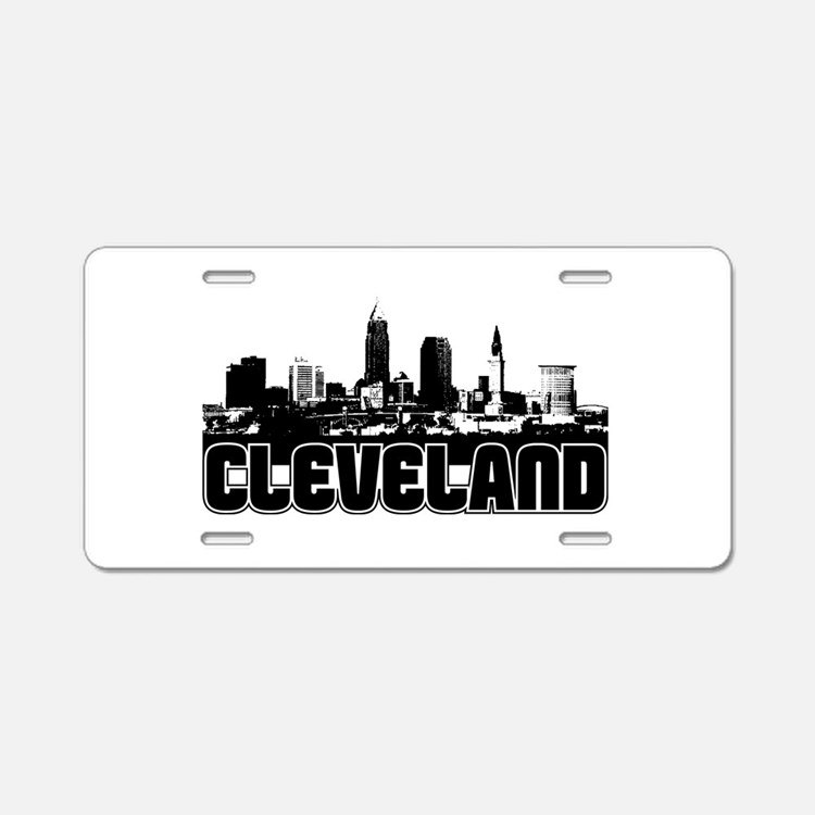 Cleveland Skyline Aluminum License Plate