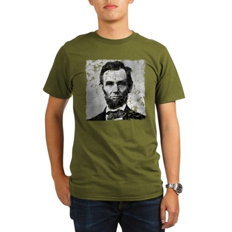 Distressed Abe Lincoln Organic Men's T-Shirt (dark
