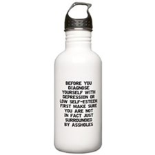 Surrounded by A-Holes Water Bottle