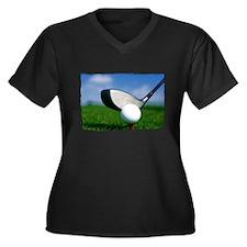 Unique Golf Women's Plus Size V-Neck Dark T-Shirt