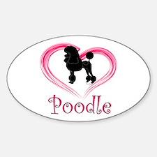 Heart My Poodle Sticker (Oval)