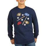 Baseball ball and glove Long Sleeve T-shirts (Dark)
