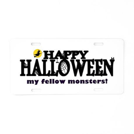 'Happy Halloween' Aluminum License Plate