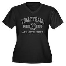 Volleyball 2012 Women's Plus Size V-Neck Dark T-Sh