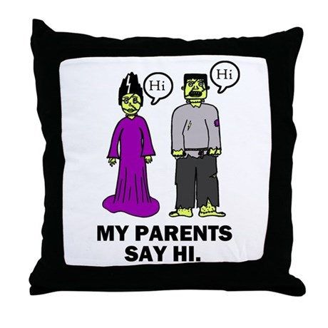 'Frankenstein's Parents' Throw Pillow