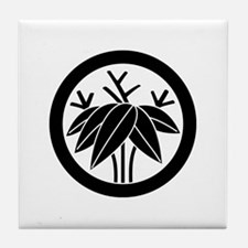 Bamboo with root in circle Tile Coaster