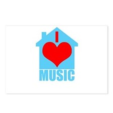 Funny I love house music Postcards (Package of 8)