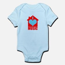 I Love House Music - House silhoutte Body Suit