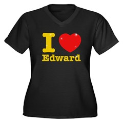 I love Edward Women's Plus Size V-Neck Dark T-Shir