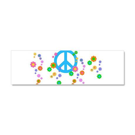 Peace Love Flowers Car Magnet 10 x 3