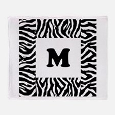 Zebra Print. Custom Letter. Throw Blanket