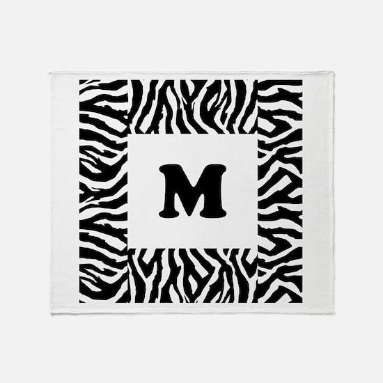 Zebra Print. Custom Letter. Throw Blanket