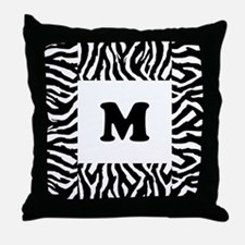 Zebra Print. Custom Letter. Throw Pillow