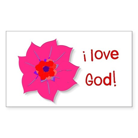 I Love God Sticker (Rectangle)