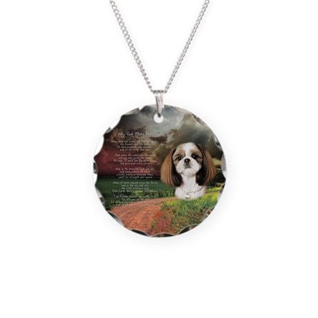 """Why God Made Dogs"" Shih Tzu Necklace Circle Charm"