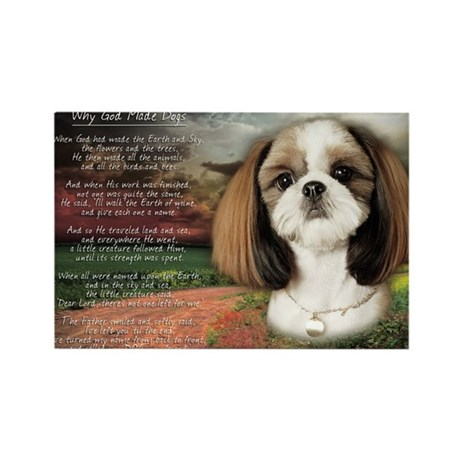 """""""Why God Made Dogs"""" Shih Tzu Rectangle Magnet (10"""
