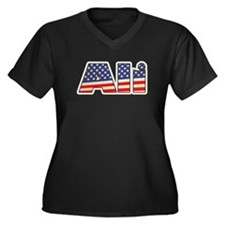 American Ali Women's Plus Size V-Neck Dark T-Shirt