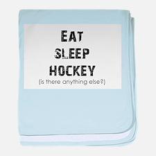 Eat Sleep Hockey baby blanket