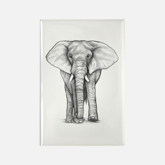 Elephant Drawing Rectangle Magnet